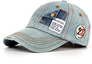 Men's Fashion Washed Cotton Baseball Cap Vintage Baseball Cap Motorcycle Edging Old Hat Accessories (Color : Light blue, S...