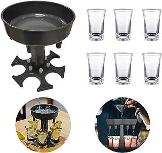 YMHPRIDE 6 dispenser per bicchierini e supporto per il supporto Dispenser per cocktail di liquore whisky con supporto Regali per feste Bere giochi Accessori da bar per bere giochi con 6 proiettili