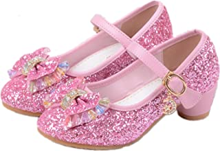 a290e641b8d2e YOGLY Babies Fille Chaussure à Talon Enfant Ballerine Princesse avec  Paillettes Noeud Papillon Chausson Maryjane