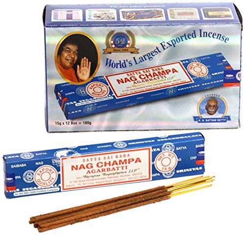 Nag Champa Großpackung, blau, 12 Päckchen mit je 15 g Inhalt, gesamt 180 g.