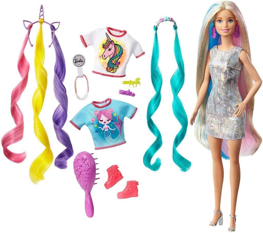 Barbie Pelo Fantasía Muñeca para peinar con Accesorios de Moda y Diademas con mechas de Unicornio y Sirena (Mattel GHN4)