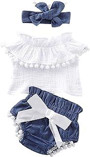 Newborn Girl Clothes Off Shoulder Tops Tshirt Shorts Bottoms with Bowknot Headband Infant Girls Clothes 3PCS Set