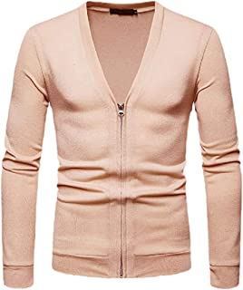 Jofemuho Mens Plain Slim 2 Piece Knitted Open Front Cardigan Sweaters Outwear