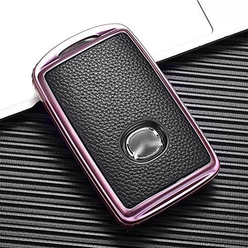 Llavero de la cubierta de la llave del coche y Eacute; Estuche para llaves y Eacute; Cuero sintético de coche para Mazda 3 Axela Cx-30 2019 2020 Cx-5 Cx-8 Cx-9 2020-3 botones - rosa plateado