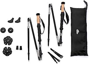 Cascade Mountain Tech Trekking Poles - Carbon Fiber Folding Walking Sticks with Quick Adjustable Locks (Set of 2)