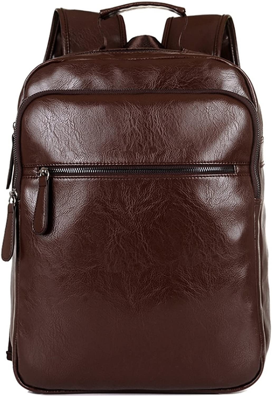 Vintage PU Leather Backpack for School College Book Bag for Hiking Daypack Black