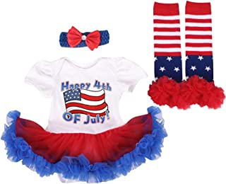 My First 4th of July Baby Girls American Flag Romper Tutu Dress Headband Leg Warmers Patriotic Birthday Outfit 3pcs Set