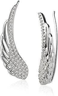 Sterling Silver Cubic Zirconia Angel Wings Ear Cuff Crawler Climber Hook Earrings, 3 Options