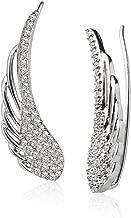 LOVVE Sterling Silver Cubic Zirconia Angel Wings Ear Cuff Crawler Climber Hook Earrings, 3 Options