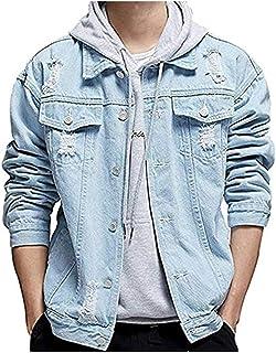 LifeHe Men's Distressed Ripped Denim Jacket Button Down Trucker Jean Coat