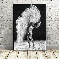 FUJIAJIA 壁アートキャンバス絵画美しい女の子のアートポスターとプリントリビングルームのアートワークデスクの装飾/20X30Cmフレームなしのバレエダンスの写真