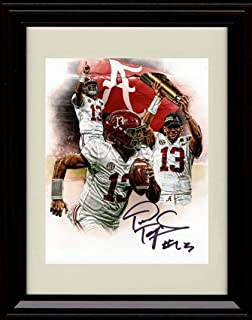 Framed Tua Tagovailoa Autograph Replica Print - Alabama Crimson Tide- Collage Shot