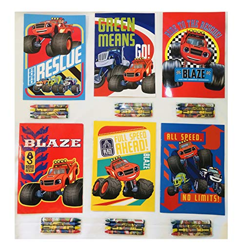 12 Sets of Blaze & The Monster Machine Truck Nickelodeon Coloring Books and Crayon Set Children Party Favors Bag Filler