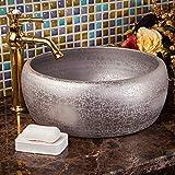 ZHQJY Lavabo artístico plateado artístico Lavabo de encimera de cerámica Lavabos de baño Lavabo