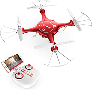 Syma X5UW RC Drone with Camera Live Video FPV Remote Control Quadcopter with 120°FOV 720P HD WiFi Camera - Altitude Hold Headless Mode 3D Flips One Key Take-Off/Landing, Color Red