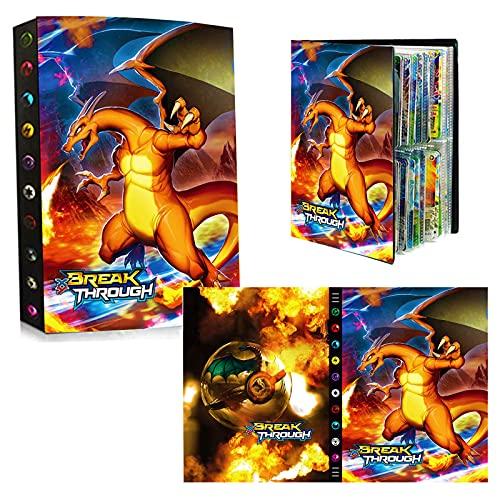 bsdppt Album compatible con cartas Pokemon 2021, Libro cromos álbum, Sobres tcg archivador, Fundas juguetes, Soporte para álbum, Capacidad para 435 cartas -