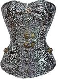 Imbry Vintage Gothic Steampunk Corsage Corsagetop Damen Korsett mit Nieten (M, Silber)