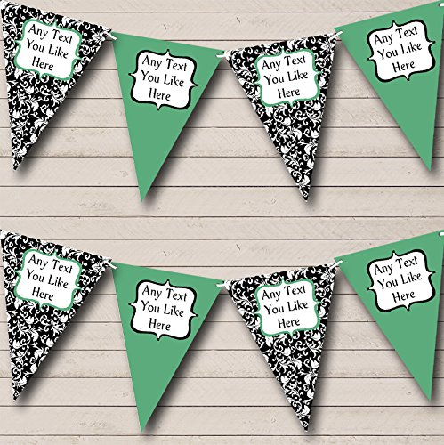 Party Banner Bunting Salie Groen Wit Zwart Damask Shabby Chic Tuin Thee Small