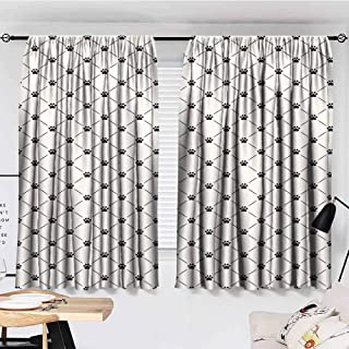 Mannwarehouse Cat Novel Curtains Classical Checkered Pattern with Cat Kitty Dog Paws Footprints Geometrical Cute Design 70%-80% Light Shading, 2 Panels,55