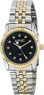 August Steiner Women's Coin Edge Luxury Dress Watch - Black Dial with Diamond Hour Markers on Two Tone Yellow Gold Toneand Silver Stainless Steel President Bracelet - AS8046