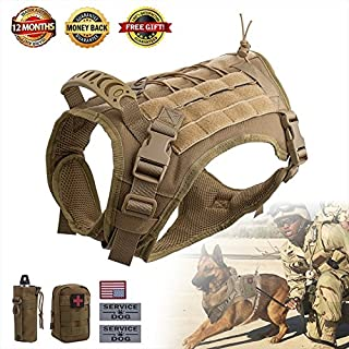 Hanshengday Tactical Dog Vest-Training Molle Harness-Tactical Dog Backpack-Pet Tactical -Vest Detachable Pouches-Relective Patches…
