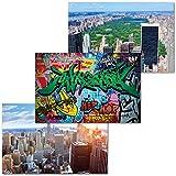 GREAT ART 3er Set XXL Poster Kinder Motive – City Feeling