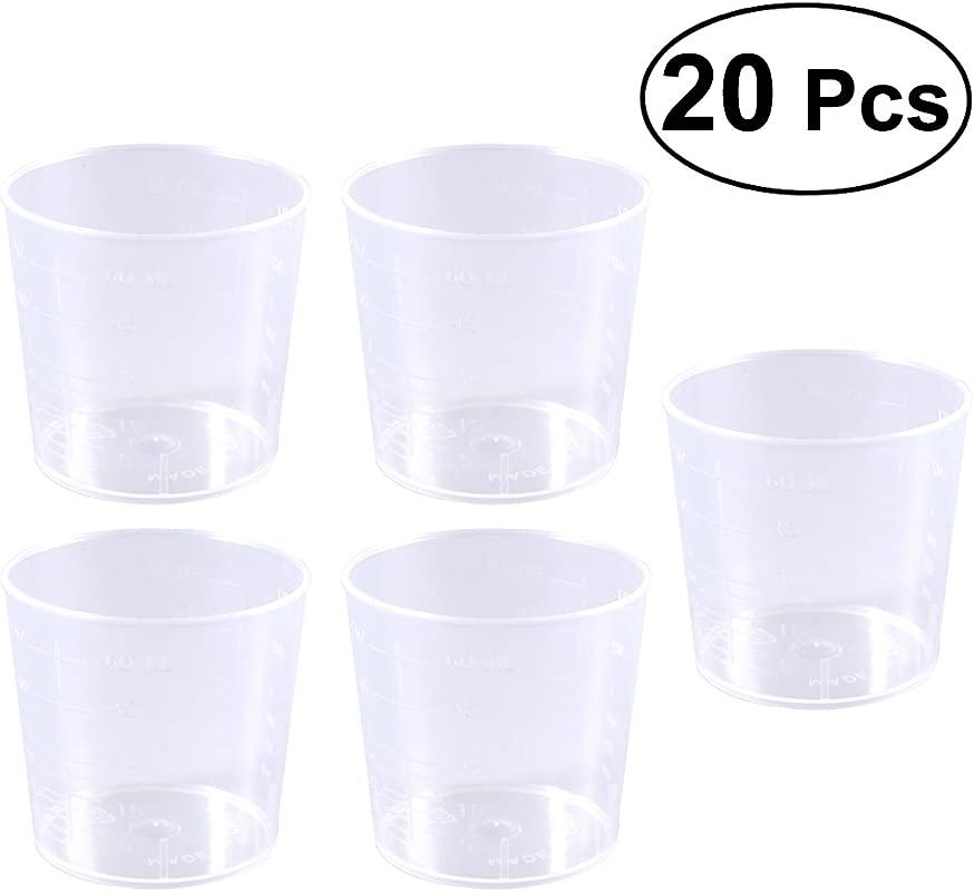 ROSENICE Plastic Graduated Cups Transparent Measure Beakers Labs Kitchen Baking Cooking Tool 60ml 20PCS