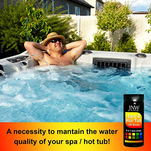 JNW Direct Spa Test Strips for Hot Tubs - 100 Count, Best Kit for Accurate Water Quality Testing at Home, 6 in 1 Hot Tub Testing Strips