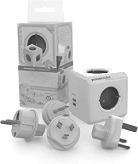 Travel Cube ReWirable DuoUSB, ladrón con 4 enchufes y 2 de USB (2.1A), Adaptador de Viaje para DE/FR UK USA AUS, sin Cable, Gris/Blanco