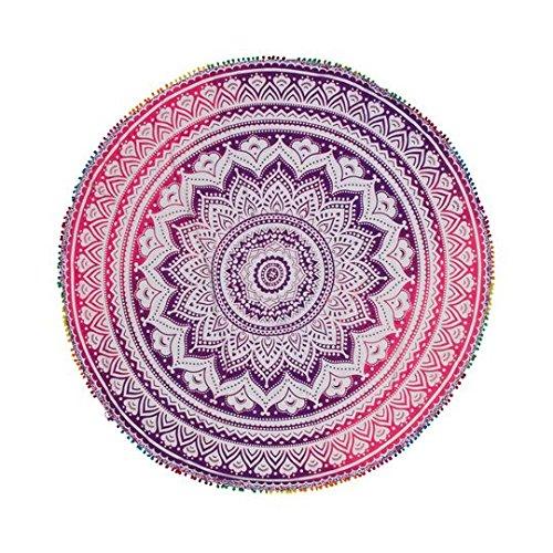 TEXTIL TARRAGO Toalla Pareo redondo gigante con Pom-pom laces rosa 180 cm de diametro