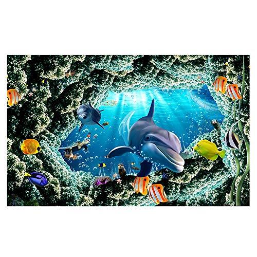 Alfombras Alfombra del mundo submarino de los delfines Sala de estar dormitorio alfombra del piso Felpudo antideslizante para el comedor, sala de juegos para niños Alfombra de yoga,03,140*200cm