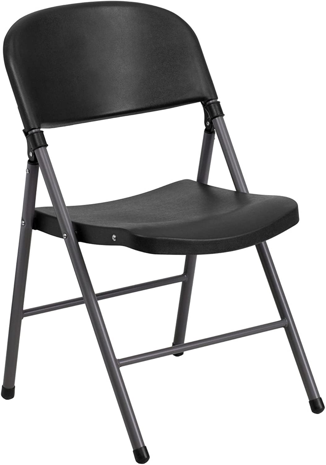 Offex OF-DAD-YCD-50-GG Hercules Series Black Plastic Folding Chair with Charcoal Frame, 330-Pound