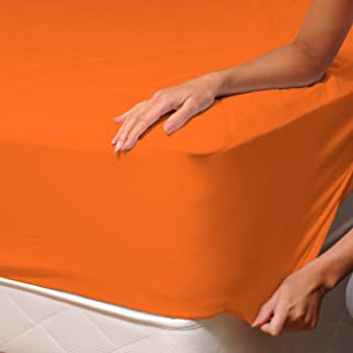 Soulbedroom Orange Fitted Sheet - 100% Cotton Bedding / Euro Double - 140X200 Cm