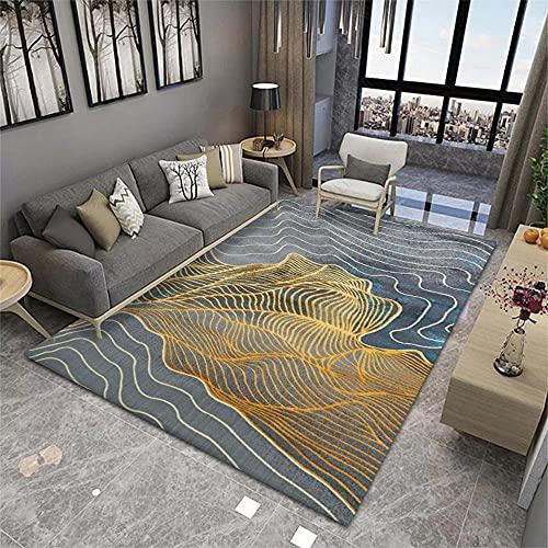 Dormitorio Juvenil Sofa Pequeño para Habitacion Rayas de Alambre de Oro Blanco Gris Azul Dorado Resumen Alfombra para Salon 100X200cm