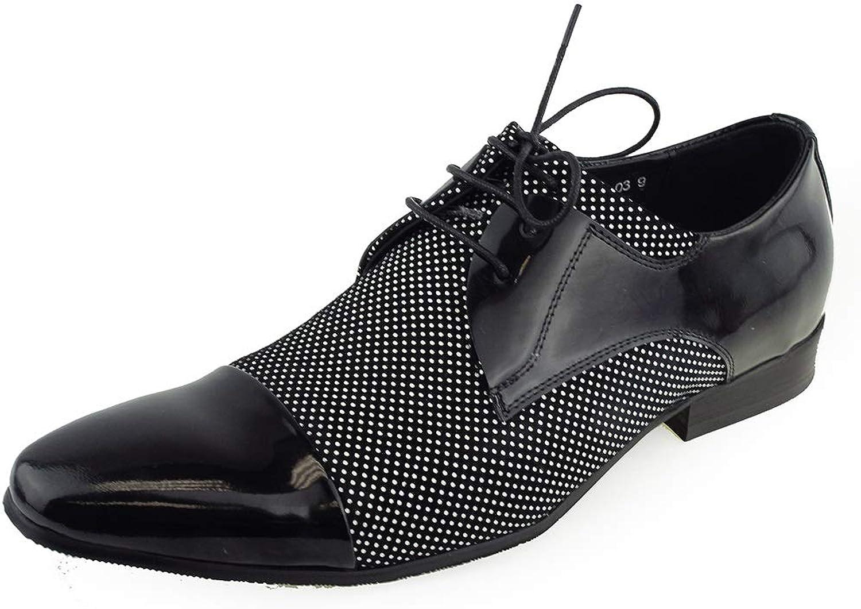 BESTON Men's Unique Dress shoes Cap Toe Two Tone Oxford (color   Black White, Size   6.5 UK)