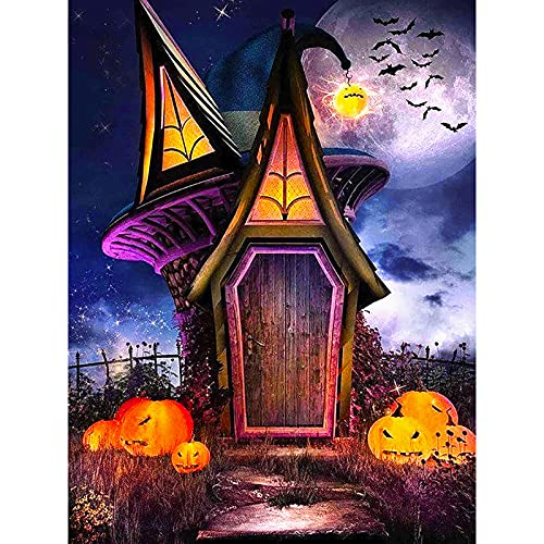 Diamond Painting Kit for Adults Full Drill, Round Diamond Kit Art Halloween, 5D DIY Gem Art and Craft, Pumpkins Jewel Painting for Wall Decor and Gift 11.8x15.7 Inch