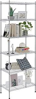 Caroma Devo Étagère de rangement 6 étagères en métal avec crochets latéraux en chrome, jusqu'à 180 kg, 54 x 29 x 160 cm, a...