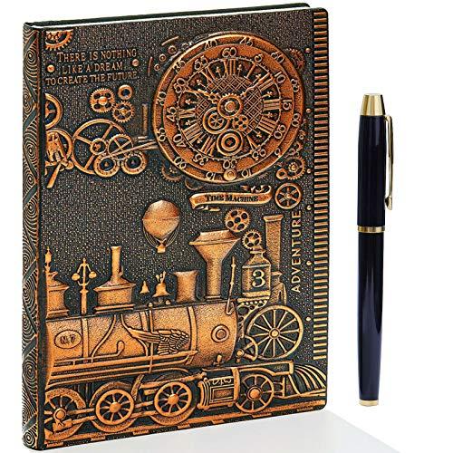 Taccuino vintage 3D in pelle goffrata con set di penne dorate, A5, 200 pagine, blocco note giornaliero fatto a mano, quaderno da schizzi, diario da viaggio e taccuino da scrivere