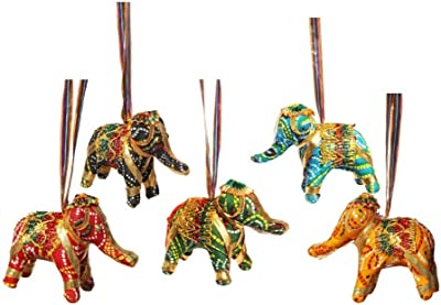 Handicrafts Paradise Cloth Door Hanging Elephant Set of 5 Pc Multi Color Chunari Cloth