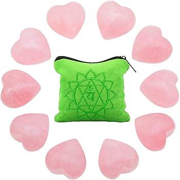 rockcloud 10 PCS Healing Crystal Rose Quartz Heart Love Carved Worry Stones with Chakra Bag Meditation Reiki Balancing