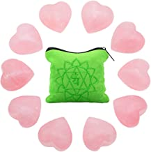 rockcloud 10 PCS Healing Crystal Rose Quartz Heart Love Carved Worry Stones with Chakra Bag Meditation Reiki Balancing
