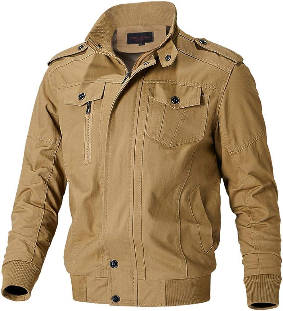 Polesem Men's Work Wear Slim Fit Casual Military Lapel Jacket Bomber Coat