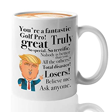 Donald Trump Coffee Mug - 11 Oz Novelty Cup Gifts For Golf Pro Sport Ball Field Men Woman Boyfriend Birthday President Conservative Republican