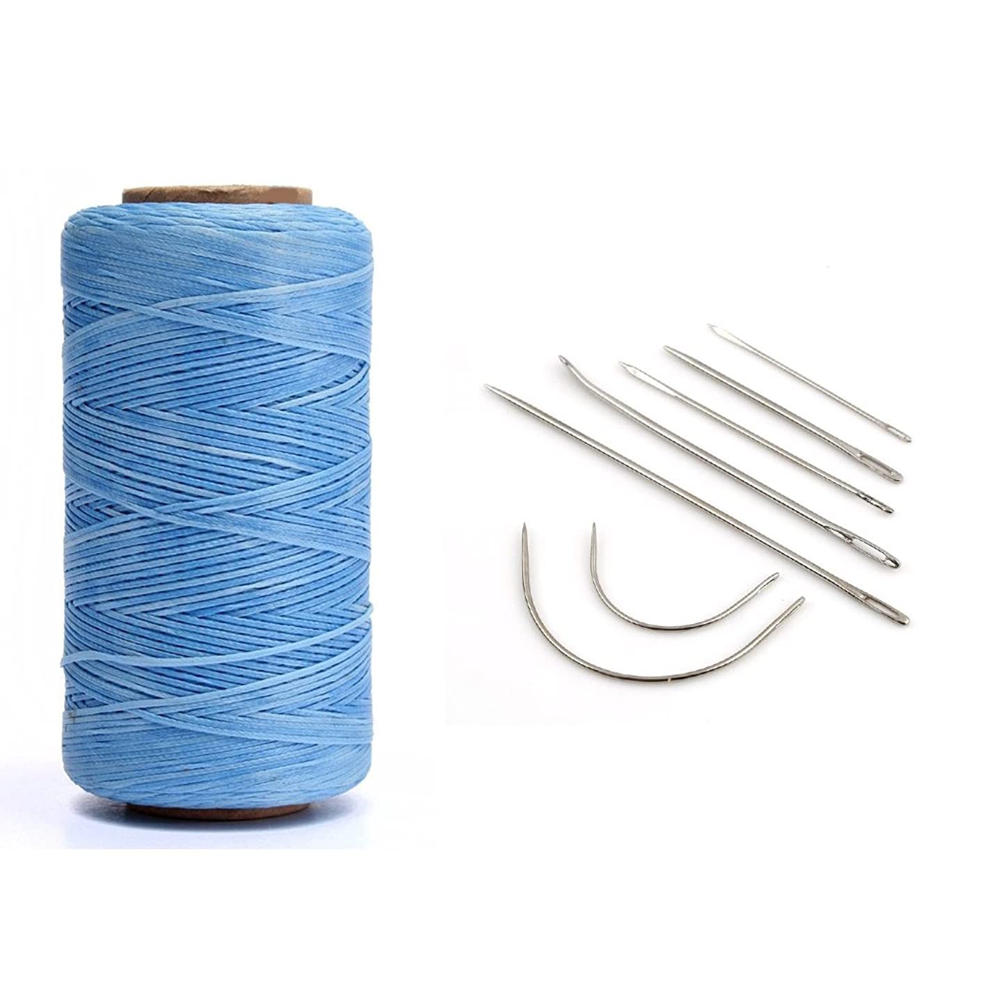 YEHAM Flat Waxed Thread Cord for Leather craft DIY 1 MM 150D 284 Yard come with 7-count Leather Craft Hand Needles (blue)