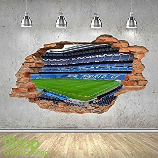 1Stop Graphics Shop Real Madrid Estadio Adhesivo Pared 3D Aspecto - niño Infantil Fútbol Dormitorio Z486 - Large: 70 cm x 120 cm