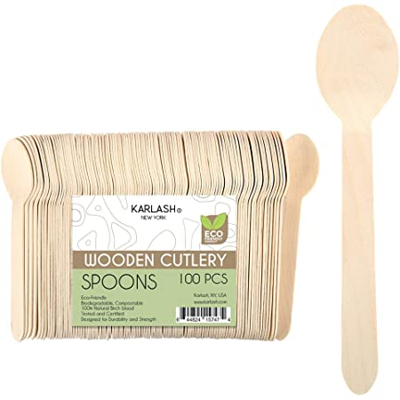 6.5 WFPLUS 100 Pcs Disposable Wooden Spoons Natural Bamboo Sppons Biodegradable Disposable Sppons