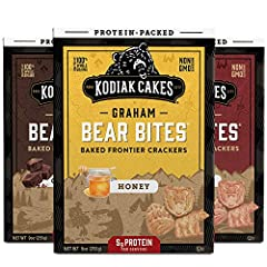 You will receive (3) boxes of Kodiak Cakes Bear Bites: (1) Honey, (1) Chocolate and (1) Cinnamon Packed with 5 grams of protein per serving Made with 100% whole grains: a good source of B vitamins and antioxidants Non-GMO ingredients and no artificia...