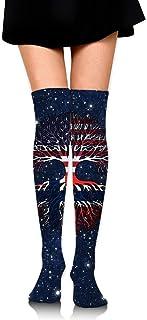 Nice-Guy, American Grown Norway Roots Calcetines altos de muslo de ganchillo para mujer Medias altas sobre la rodilla