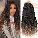 Lihui 6Pcs/Lot Goddess Locs Crochet Hair Faux Locs Crochet Hair Wavy Faux Locs with Curly Ends Synthetic Braiding Hair Extension (20',1b/27 Color)
