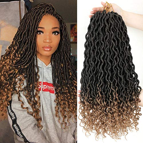 "Lihui 6Pcs/Lot Goddess Locs Crochet Hair Faux Locs Crochet Hair Wavy Faux Locs with Curly Ends Synthetic Braiding Hair Extension (20"",1b/27 Color)"